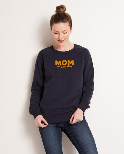 Donkerblauwe sweater 'MOM'